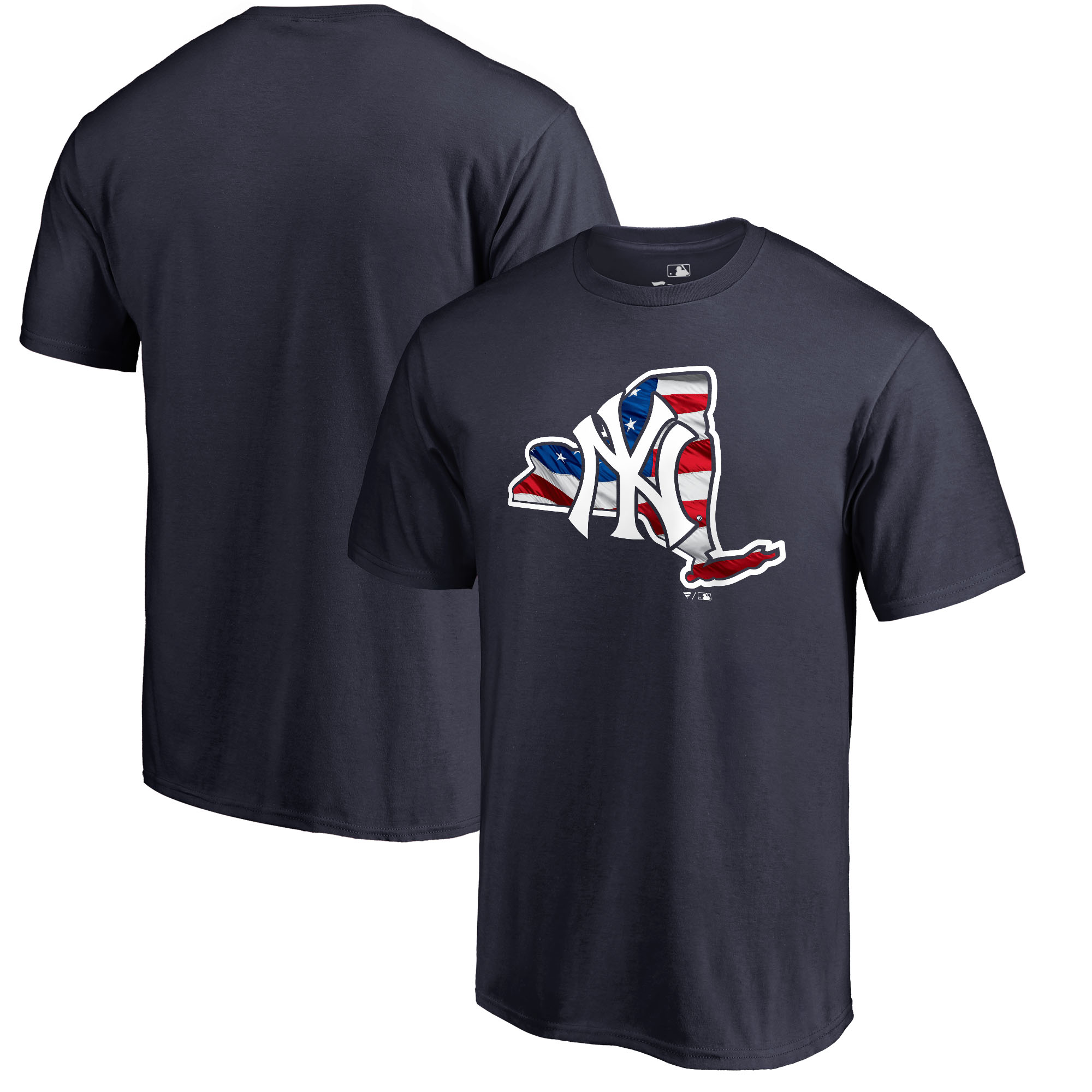 New York Yankees Fanatics Branded 2018 Stars & Stripes Banner State Big & Tall T-Shirt - Navy