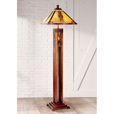 Robert Louis Tiffany Mission Floor Lamp with Nightlight Walnut Wood Column Stained Glass Shade for Living Room Reading