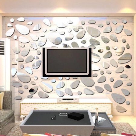 Joyfeel Clearance 12pcs/set 3D Cobblestone Removable Mirror Wall Sticker Reflect Mirror Wall Sticking Decal