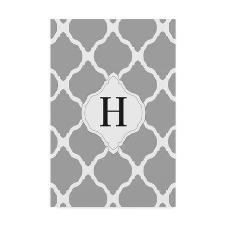 Trademark Fine Art 'H Gray Monogram' Canvas Art by Art Licensing Studio - Monogram Canvas