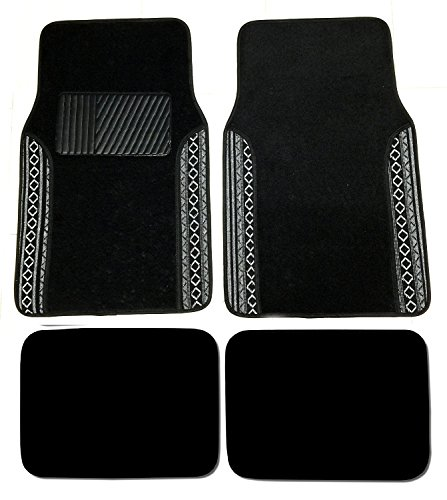 Premium Carpet 4PC Front & Rear Driver Passenger Floor Mats Cars Trucks Sedans SUVs (Baja Black)