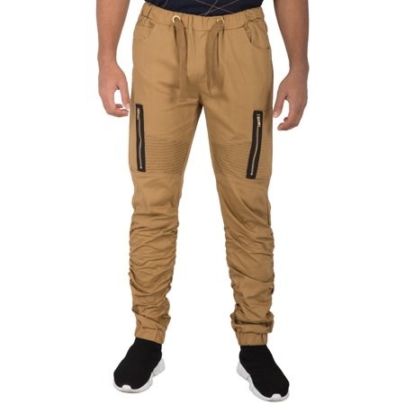 vibes gold label mens vertical zipper cargo patch pocket moto knee black twill scrunched leg joggers