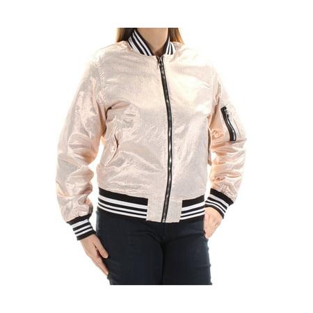 HUDSON Womens Gold Pocketed  Metallic Bomber Jacket  Size: L