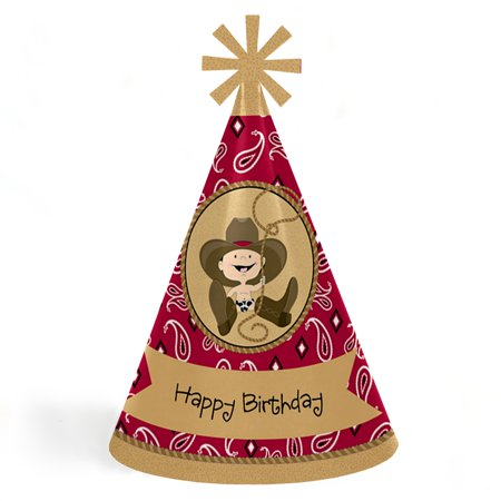 Happy Birthday Western (Little Cowboy - Western Cone Happy Birthday Party Hats for Kids and Adults - Set of 8 (Standard)