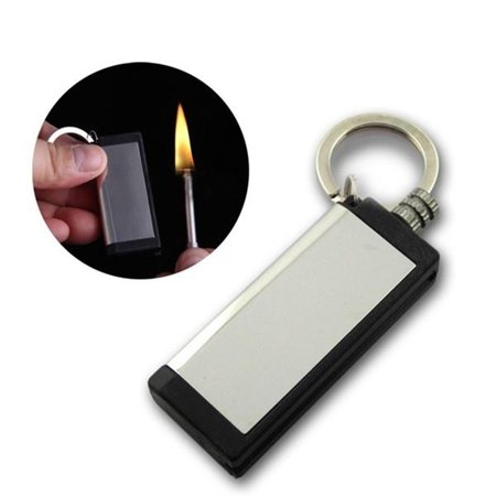 Metal Rectangle Useful Camping Hiking Survival Emergency Fire Starter Flint Match Lighter with Key Ring