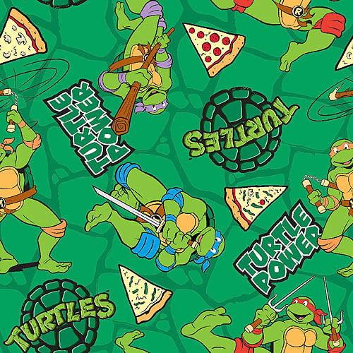 "Nickelodeon Teenage Mutant Ninja Turtles Retro, Turtle Power Pizza Toss, Cotton, Green, 43/44"" Wide, Fabric by the Yard"