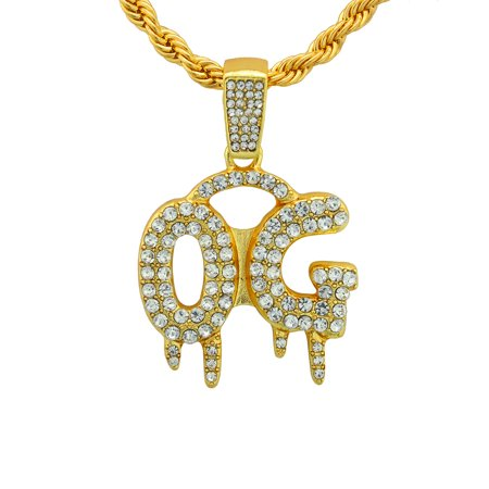 """14K Gold Plated Hip Hop Bling Shiny Stone Iced Out Dripping """"OG"""" Bubble Letter Word Pendant With 24"""" Rope Chain"""