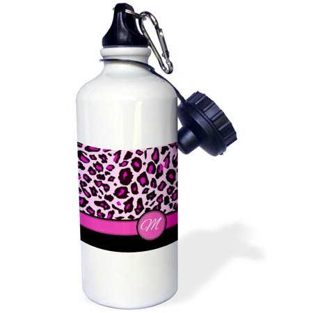 3dRose Personalized initial M monogrammed hot pink and black leopard pattern animal print - personal letter, Sports Water Bottle, 21oz (Personalized Water Bottles No Minimum)