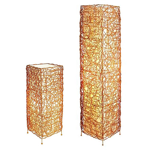 Wicker Table and Floor Lamp Set, Gold