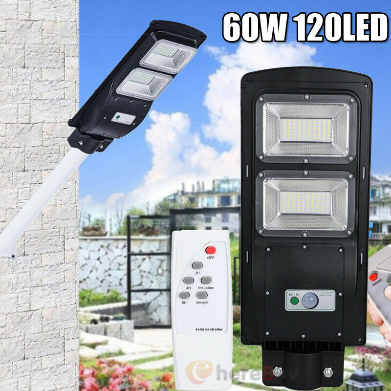 Details about  /60W//120LED Solar Street Light LED Outdoor IP67 Dusk-to-Dawn Area Road Spotlight