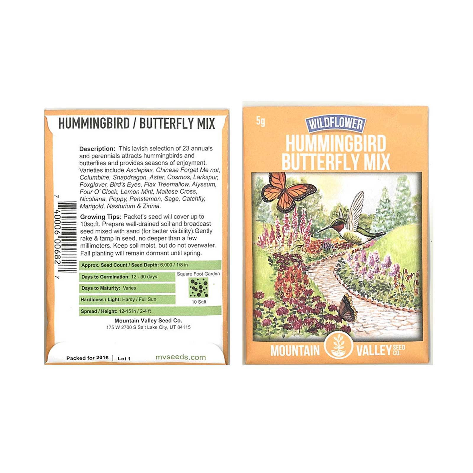 Hummingbird & Butterfly Wildflower Seed Mix - 5 g Packet - Wild Flower Seed Mixture: Alyssum, Lemon Mint, Foxglove, More