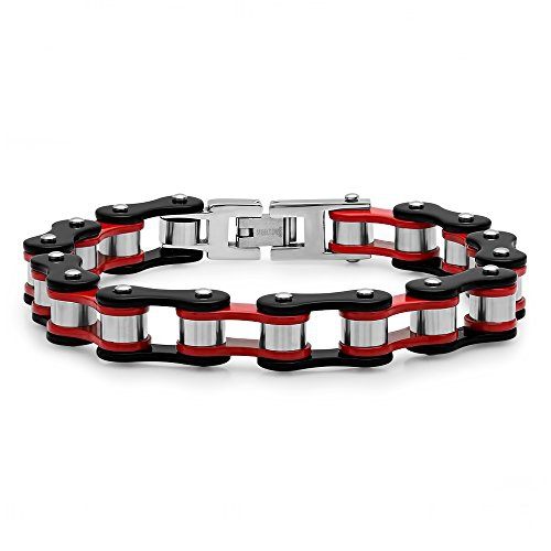 STEELTIME Men's Stainless Steel Black IP and Red Plated Bracelet