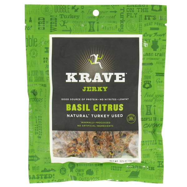 Krave Basil Citrus Turkey Jerky 3.25 oz Bags - Pack of 8