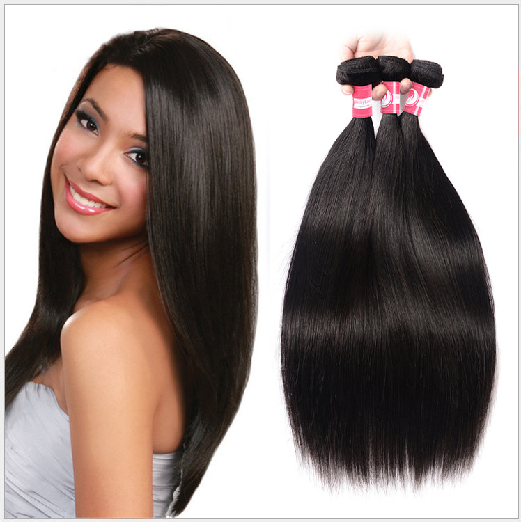 Virgin Human Straight Hair 3 Bundles Extensions Natural Color by Dazone