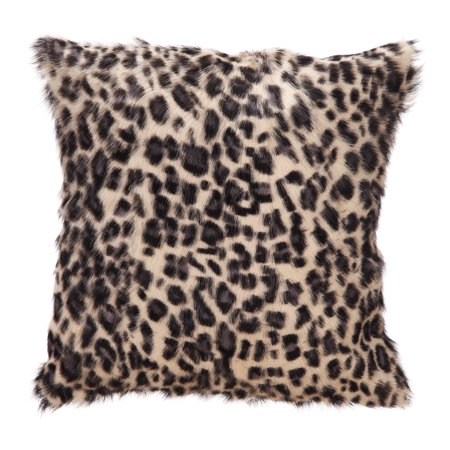 Leopard Finish - Moe's Home Spotted Goat Fur Pillow Leopard With Blue Finish XU-1017-26