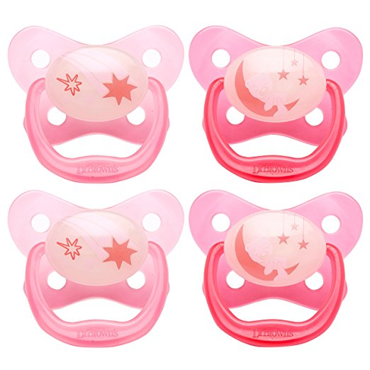 Dr. Brown's PreVent Glow in the Dark Pacifier, Stage 3 (12m+), Pink, 4 Count by Dr. Brown%27s