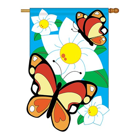 Two Group - Butterflies Garden Friends - Everyday Bugs & Frogs Applique Decorative Vertical House Flag 28