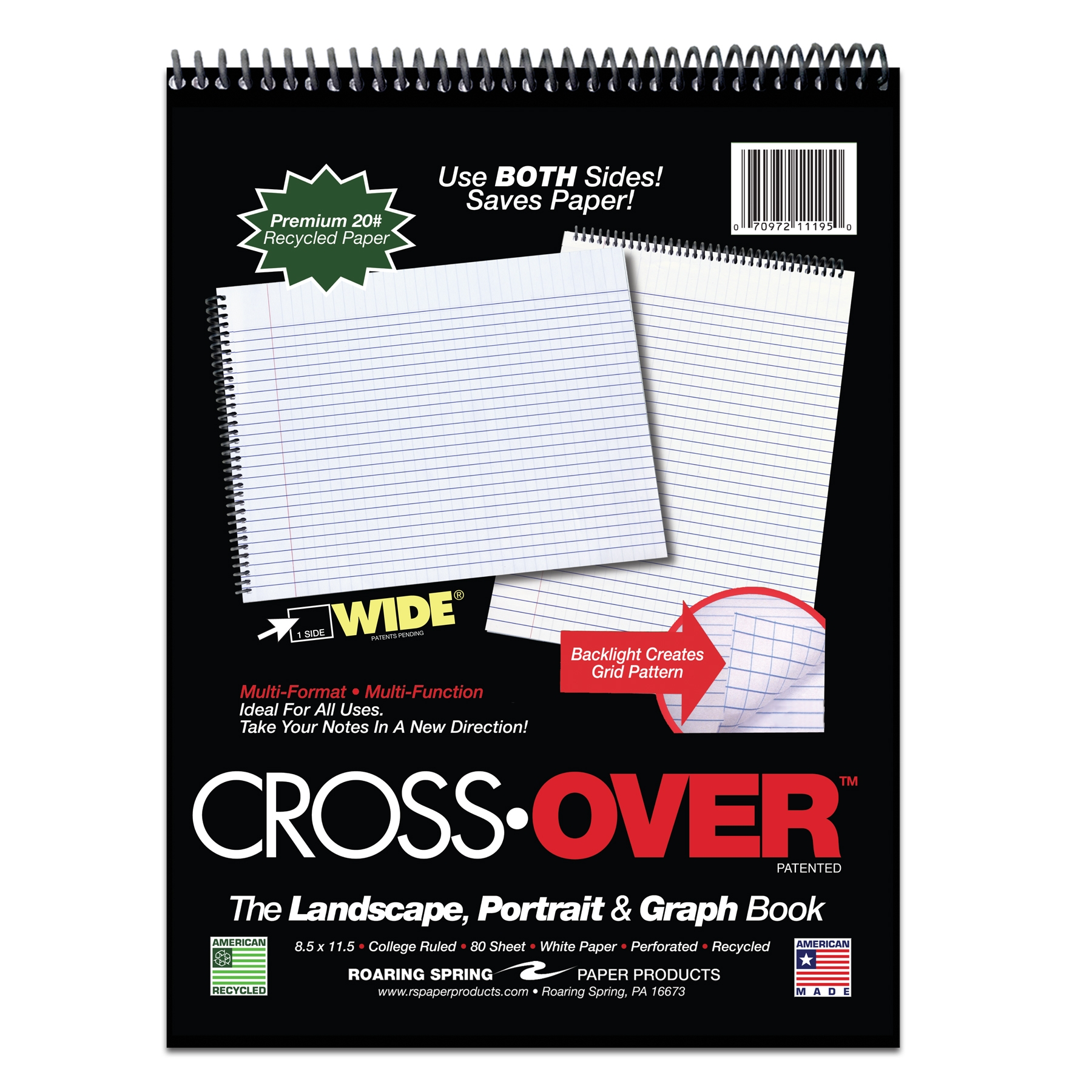 "CROSSOVER NOTEBOOK 11.5"" X 8.5"" RULED 2 WAYS 20# PAPER PERF"
