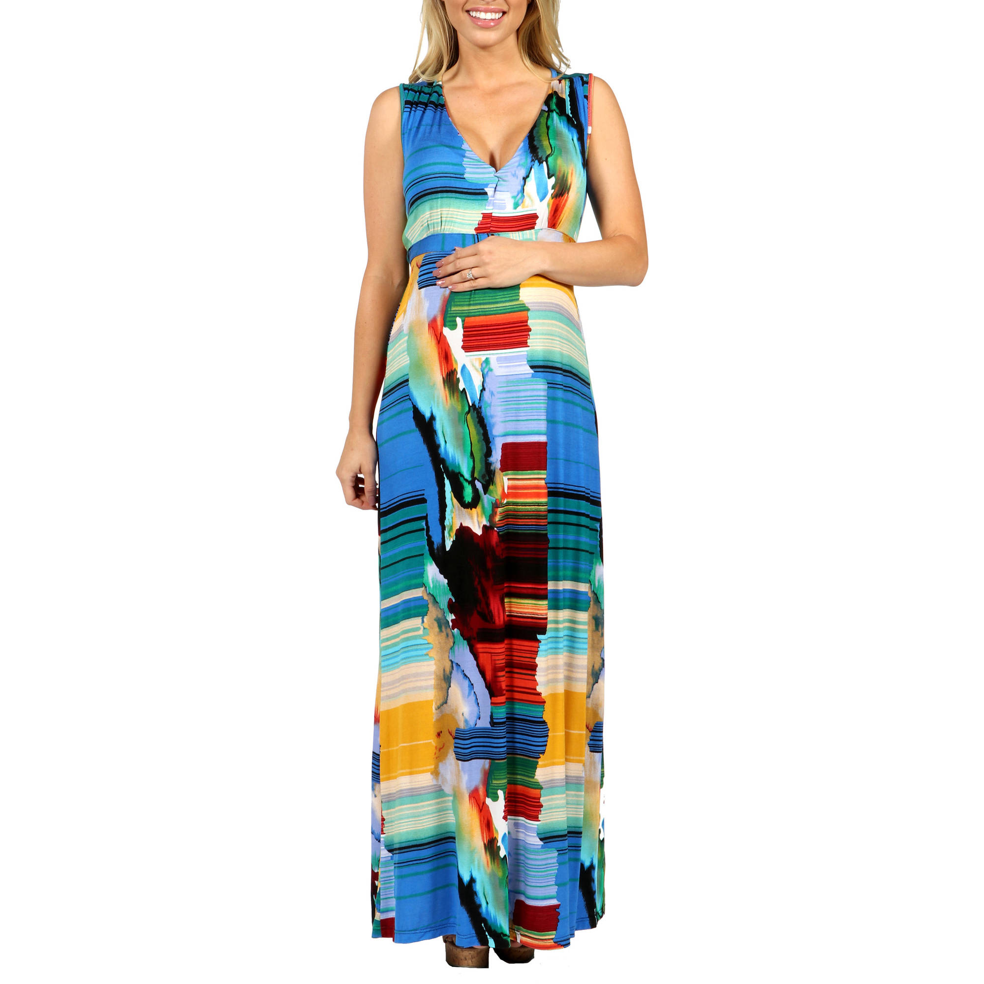 24/7 Comfort Apparel French Watercolors Maxi Maternity Dress