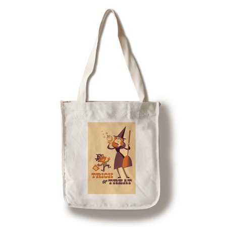 Trick or Treat - Mom & Son - Retro Halloween - Lantern Press Artwork (100% Cotton Tote Bag - Reusable)