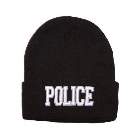- Cuffed Embroidered Police Text Style Beanie - Black
