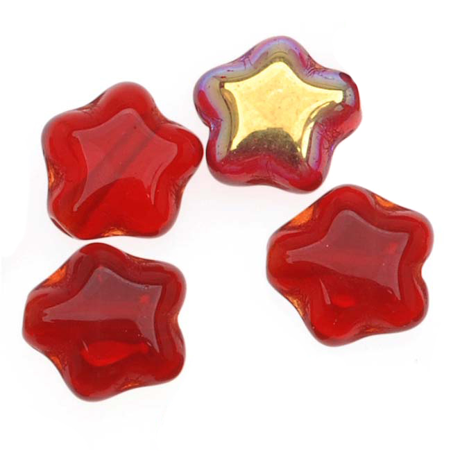 Czech Glass Beads Translucent Siam Red AB Tiny Stars 6mm (25)