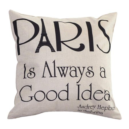 Tayyakoushi Throw Pillow Cover Cotton Linen Square Decorative Throw Pillow Case 18
