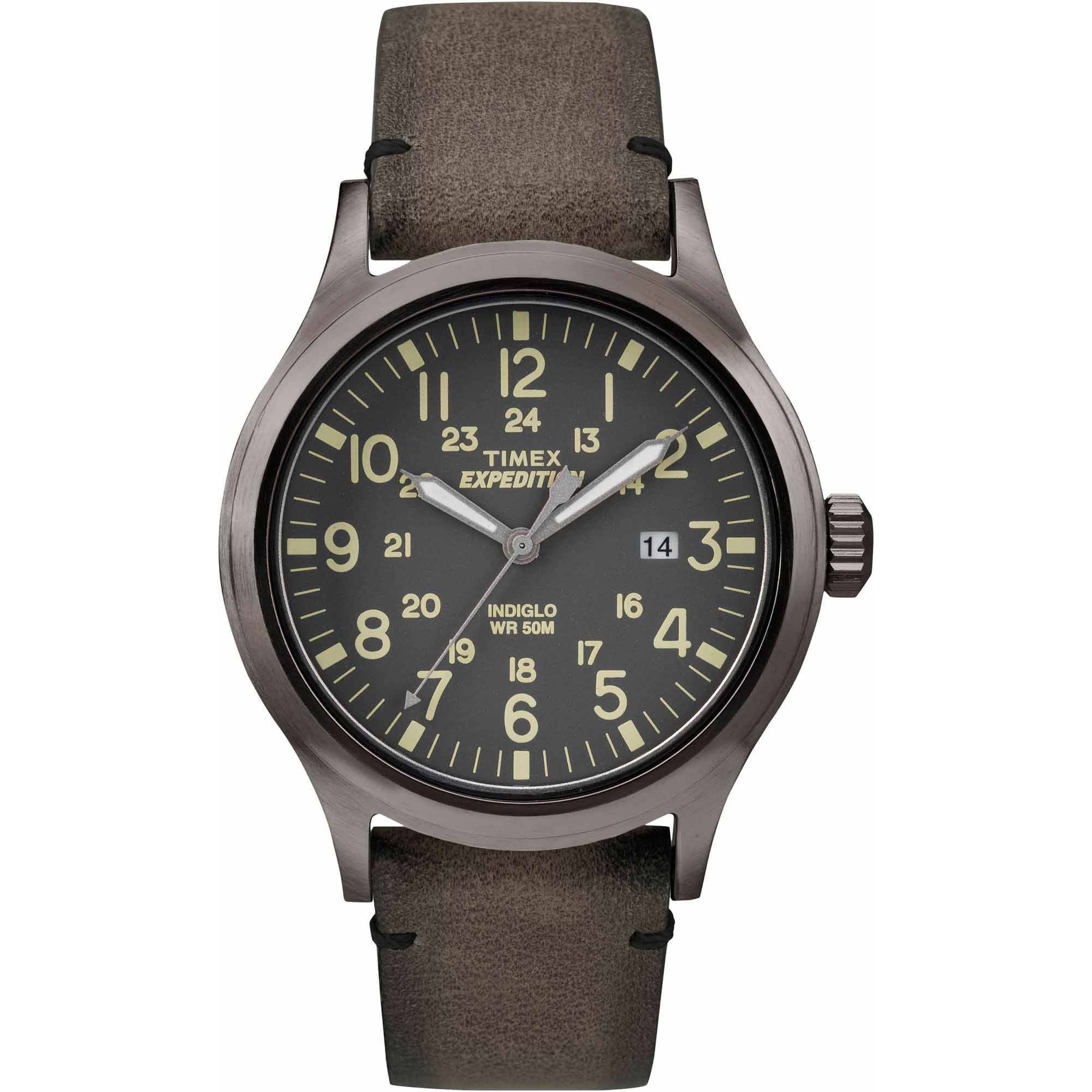 Timex Men's Expedition Scout Watch, Brown Leather Strap by Timex