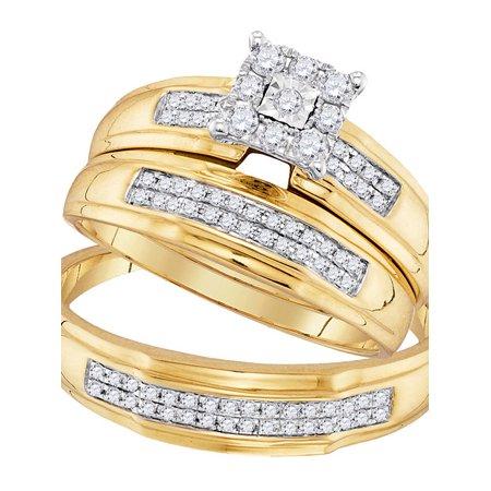 Gold Wedding Band Set - 10kt Yellow Gold His & Hers Round Diamond Matching Bridal Wedding Ring Band Set 3/8 Cttw