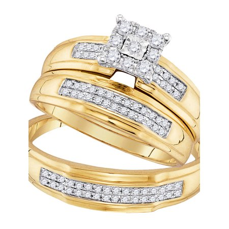 10kt Yellow Gold His & Hers Round Diamond Matching Bridal Wedding Ring Band Set 3/8 Cttw Diamond Fine Jewelry Ideal Gifts For Womens Gift Set From Heart (Diamond Jewelry Rings)