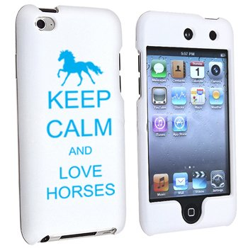 For Apple iPod Touch 4th Generation White Rubber Hard Case Snap on 2 piece Light Blue Keep Calm and Love Horses