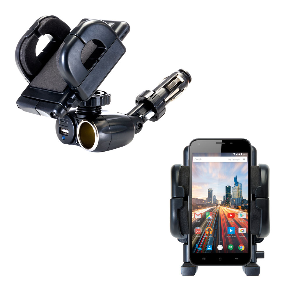 Dual USB   12V Charger Car Cigarette Lighter Mount and Holder for the Archos 50 Helium Plus   55 Helium Plus by