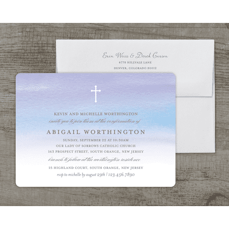 Personalized Confirmation Deluxe 5 x 7 Invitation - Watercolor Confirmation
