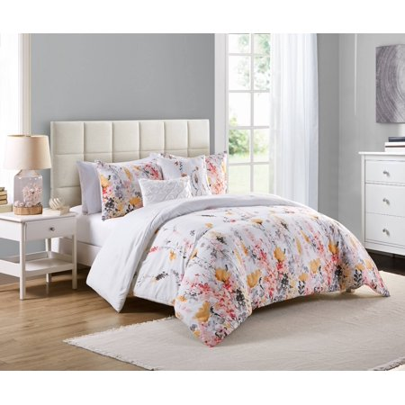 VCNY Home Misha Multi-Colored Floral Bedding Comforter Set, Decorative Pillows
