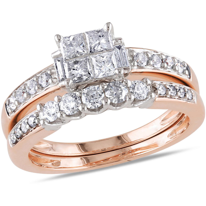 1 Carat T.W. Princess-, Baguette- and Round-Cut Diamond 14kt Rose Gold Bridal Set