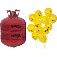 Helium Tank + 72 Emoji Balloons - Balloon Time Disposable Helium Tank 14.9 cu.ft by Blue Ribbon