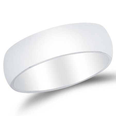 Mens 14k White Gold Solid 6mm COMFORT FIT Plain Traditional Wedding Band Ring , Size
