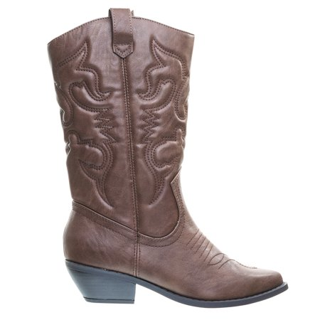 Reno by Soda, Cowboy Cowgirl Western Leatherette Stitch Detail Mid-Calf High Boots