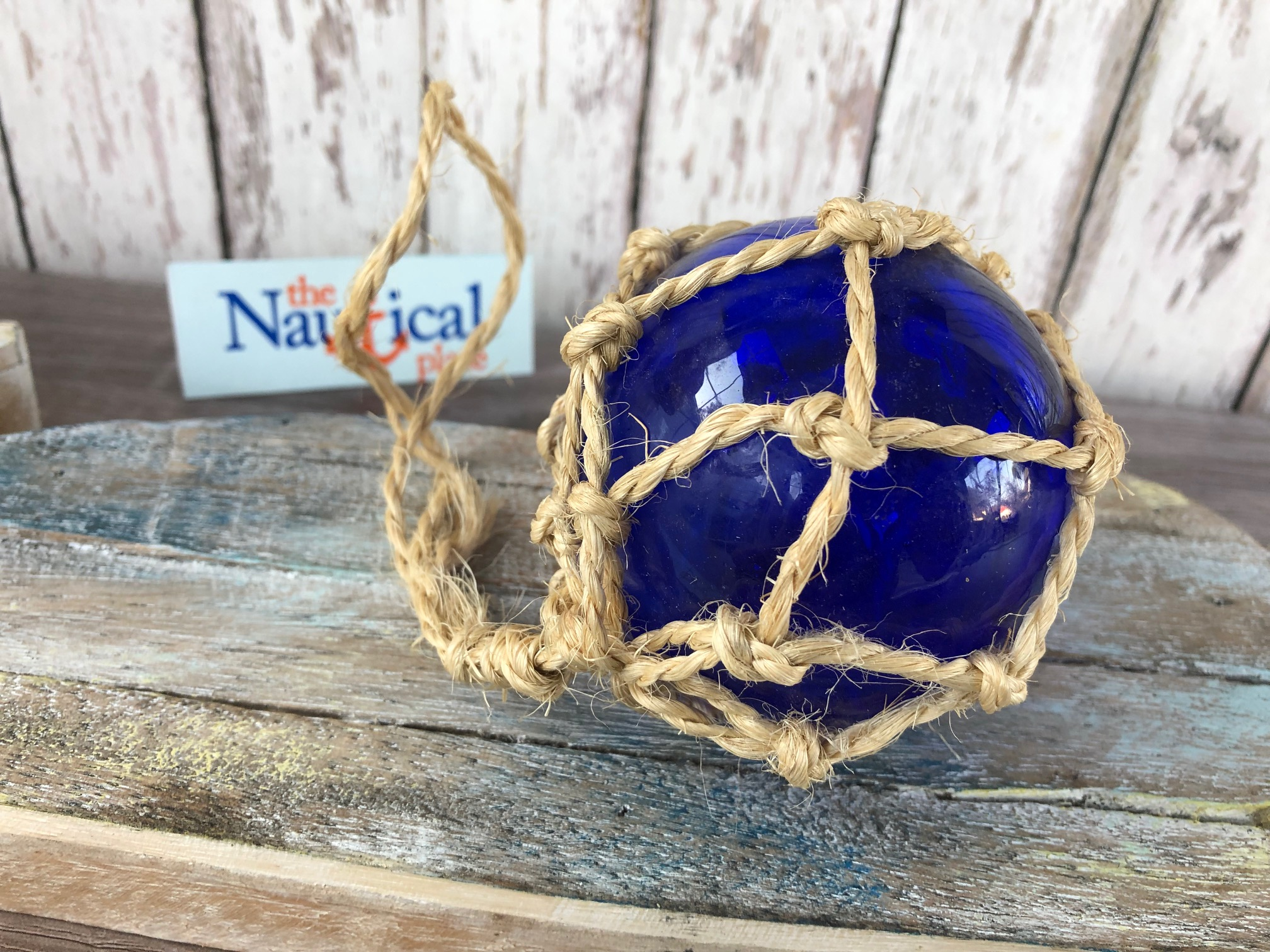 """REPRODUCTION COBALT BLUE GLASS FLOAT BALL BUOY WITH FISHING NET 2/"""" #F-362"""