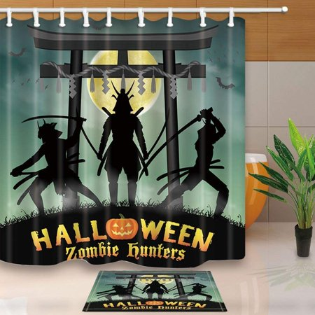 BPBOP Halloween Decor Samurai Zombie Hunter with Japan Style Temple Gate Shower Curtain 66x72 inches with Floor Doormat Bath Rugs 15.7x23.6 inches](Floor 15 Halloween 100 Floors)