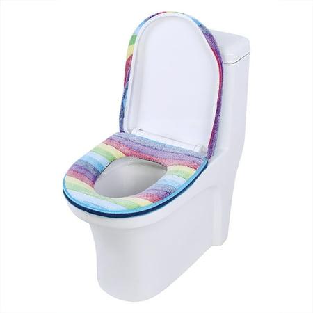 Tebru 2pcs set Warm Soft Coral Velvet Toilet Seat Lid Cover Set Rainbo