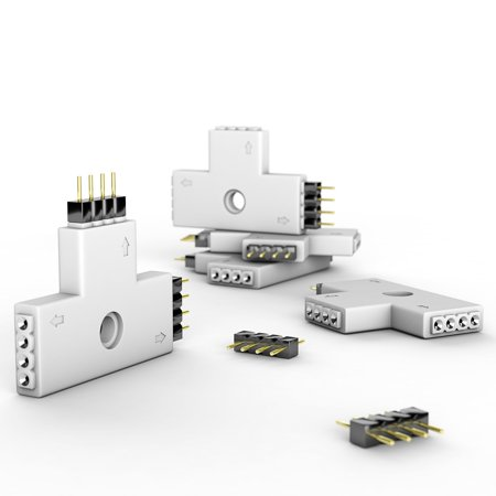 SUPERNIGHT 5pcs T-shape 4-pin Female LED Strip Corner Connector Splitter for 5050 RGB LED Strip Lights and Controller