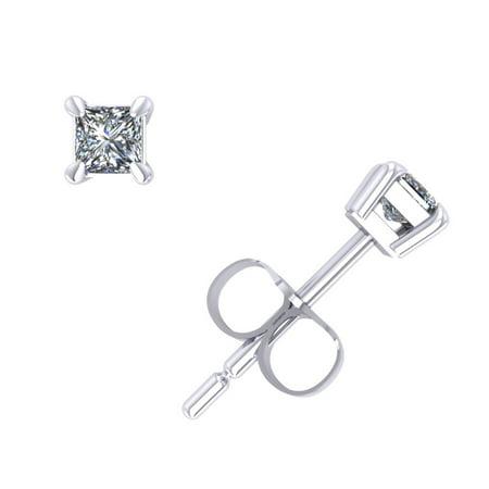 Genuine 0.15Ct Princess Cut Diamond Stud Earrings 14k White Gold Prong Set K I2 (Princess Cut Earring Set)