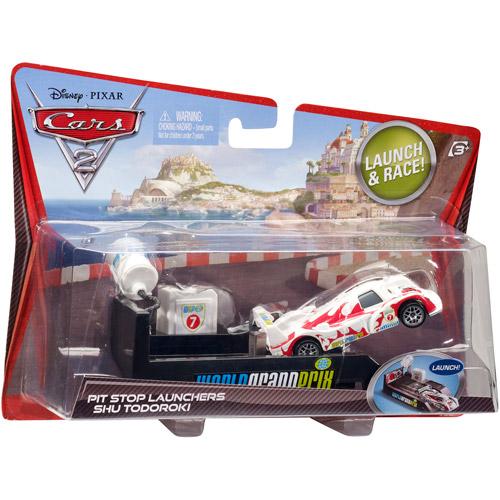 Disney Pixar Cars 2 Pit Stop Launcher Shu Todoroki Toy Car Set