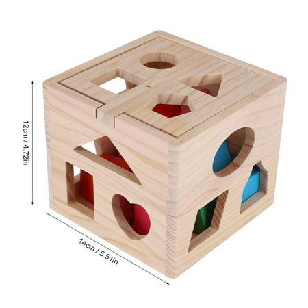 Ccdes Jouet éducatif géométrique, blocs de construction en bois, jeu intellectuel pour bébé de 13 trous de construction de blocs intellectuels - image 2 de 8