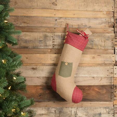 Natural Green Tan Primitive Christmas Decor Dolly Star Pocket Fabric Loop Jute Appliqued Textured Stocking (Stocking Stars)