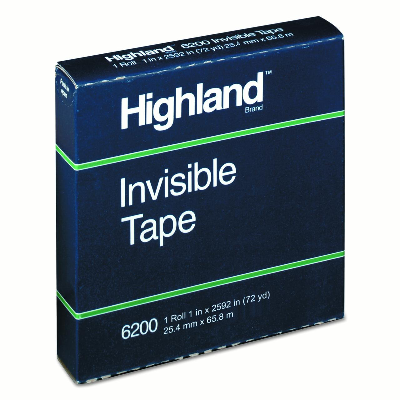 "Highland Invisible Tape, 1"" x 2592"", 3"" Core"