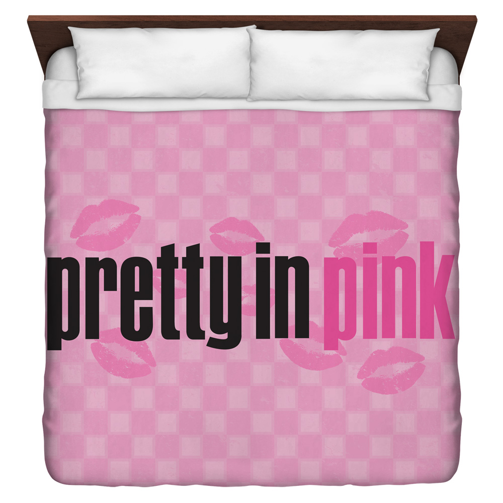 Pretty In Pink Kiss Me King Duvet Cover White 104X88