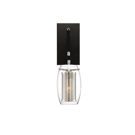 Wall Sconces 1 Light With Matte Black Polished Chrome Accents Metal 5 inch 60