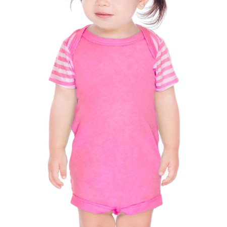 Kavio! Infants Contrast Mini Striped Lap Shoulder Short Sleeve Bodysuit Striped White/PinkFlash 6M